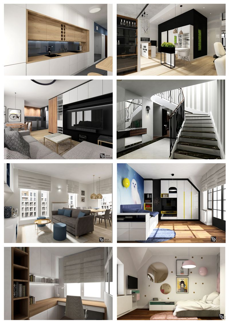 Przykładowe wizualizacje fotorealistyczne - Alina Badora, architekt wnętrz